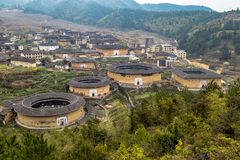 Vue de groupe de ChuXi de province de Tulou - de Fujian, Chine images libres de droits