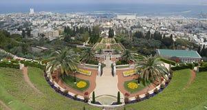 Vue de Haïfa avec les jardins de Bahai. l'Israël. Photographie stock libre de droits