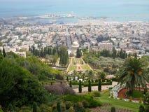 Vue de Haïfa et port et baie du centre de Haïfa photos stock