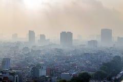 Vue de Hanoï du ciel dans le matin Image stock
