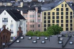 Vue de Helsinki, toits, greniers, fenêtres Image stock