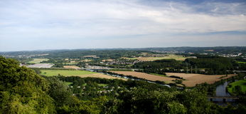 Vue de Hengsteysee, de Ruhr, et de vallée près de Hagen de Hohensybur Photos libres de droits