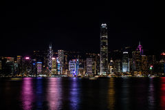 Vue de Hong Kong Central Harbor par nuit Image libre de droits