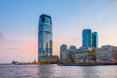 Vue de Hudson River Waterfront Walkway, Jersey City Photos libres de droits