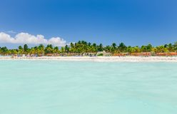 Vue de invitation stupéfiante du jardin tropical, plage avec la détente de personnes, nageant Photo libre de droits