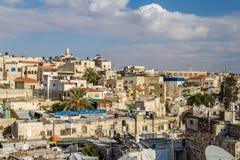 Vue de Jérusalem des vieux murs de ville en Israël Image libre de droits