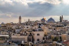 Vue de Jérusalem des vieux murs de ville en Israël Images stock