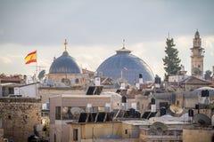Vue de Jérusalem des vieux murs de ville en Israël Image stock