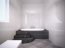 Vue de jacuzzi dans la salle de bains avec les murs brillants Image libre de droits