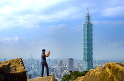 Vue de jour d'horizon de Taïpeh Photographie stock