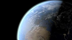 Vue de jour et nuit de la terre de planète illustration libre de droits