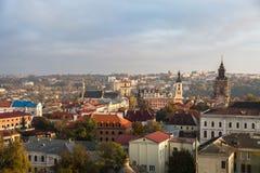 Vue de Kamianets-Podilsky d'en haut Image libre de droits