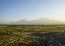 Vue de Khor Virap le mont Ararat images libres de droits