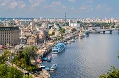 Vue de Kiev d'un point d'observation au-dessus du Dnieper l'ukraine photographie stock