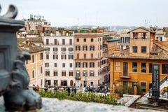 Vue de l'église du dei Monti de Trinita à l'Espagnol Steps Piazza di Spagna Photos libres de droits