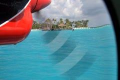 Vue de l'île tropicale par l'intermédiaire du propulseur plat Photo stock