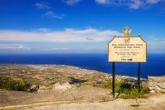 Vue de l'aéroport de Santorini du monastère du prophète Elias Images libres de droits