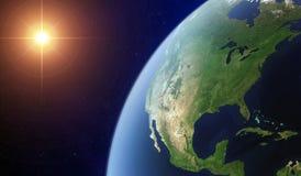 Vue de l'Amérique du Nord de l'espace illustration stock