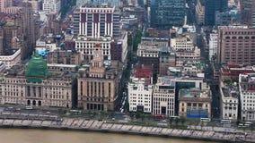 Vue de l'architecture historique de Bund, faisant face au fleuve Huangpu, Changha?, Chine banque de vidéos