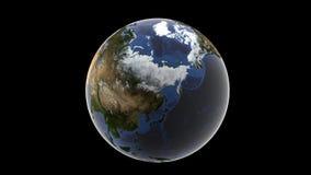 Vue de l'Asie et de l'Alaska couvert de neige, globe d'isolement de la terre sur un fond noir, 3d rendu, éléments de ce furnishe  Images stock