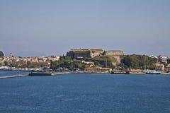 Vue de l'eau de fort de Corfou images libres de droits
