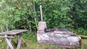 Vue de l'emplacement de cuisine d'été sur l'archipel Photographie stock libre de droits