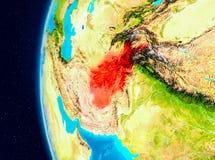 Vue de l'espace de l'Afghanistan en rouge Photo libre de droits