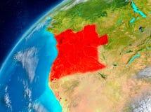 Vue de l'espace de l'Angola en rouge illustration libre de droits