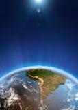 Vue de l'espace de l'Amérique du Sud Photographie stock