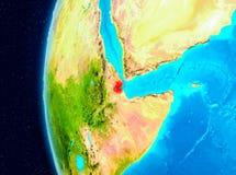 Vue de l'espace de Djibouti en rouge Photos stock