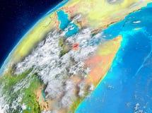 Vue de l'espace de Djibouti en rouge Image stock