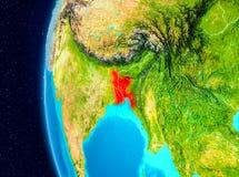 Vue de l'espace du Bangladesh en rouge Photos libres de droits
