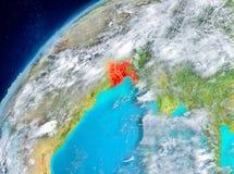 Vue de l'espace du Bangladesh en rouge Photos stock
