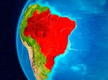 Vue de l'espace du Brésil en rouge Images stock