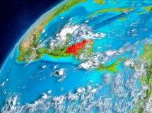Vue de l'espace du Honduras en rouge Images stock