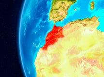 Vue de l'espace du Maroc en rouge Photos stock