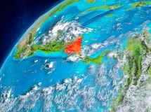 Vue de l'espace du Nicaragua en rouge Images stock