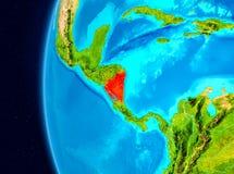 Vue de l'espace du Nicaragua en rouge Photos stock