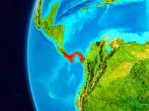 Vue de l'espace du Panama en rouge Images libres de droits