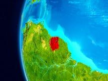 Vue de l'espace du Surinam en rouge Photographie stock