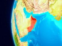 Vue de l'espace de l'Oman en rouge Photographie stock libre de droits