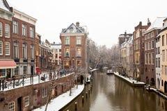 Vue de l'hiver d'Utrecht Image stock