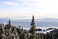 Vue de l'hiver de continent inférieur, BC Photographie stock