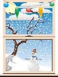 Vue de l'hiver de Noël par un hublot Illustration Libre de Droits