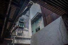 Vue de l'intérieur de la maison brûlée Photographie stock