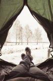 Vue de l'intérieur de la tente, divisé en hiver Image libre de droits