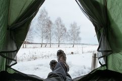 Vue de l'intérieur de la tente, divisé en hiver Image stock