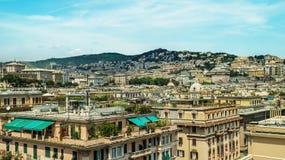 Vue de l'Italie Gênes de la ville d'en haut Photographie stock libre de droits