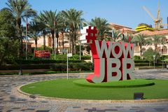 Vue de l'oeil de Dubaï et de Dubaï Ferris Wheel dans JBR Dubaï - EAU 22 JANVIER 2018 Photos libres de droits