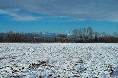 Vue de la campagne avec un peu de neige Images libres de droits